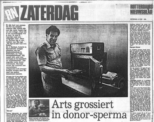 Krantenartikel uit het Rotterdams Nieuwsblad over dokter Jan Karbaat